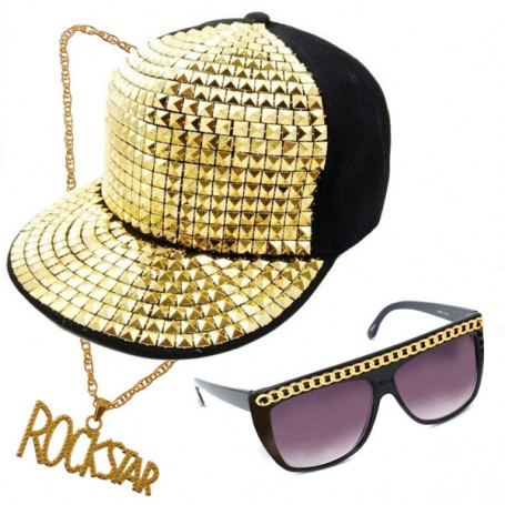 Party Rock Costume Kit - Studded Cap, Glasses, Neck Chain