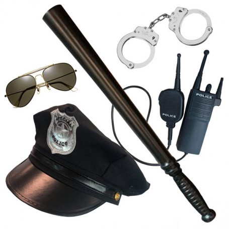 Police Costume Kit - Hat, Cuffs, Baton, Glasses, Radio