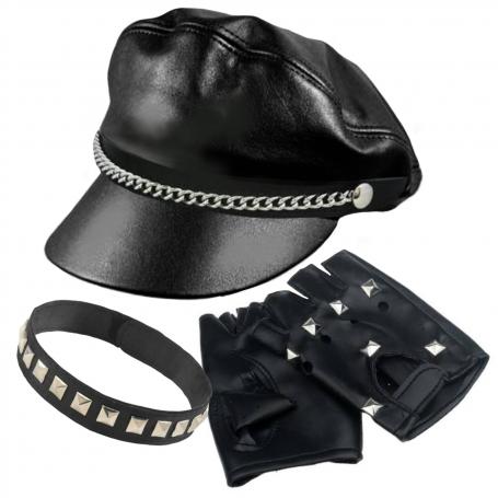 Biker Costume Kit - Hat, Choker & Gloves