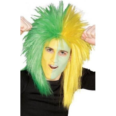 Sport Fanatic Green & Yellow Adult Wig