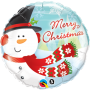 "Merry Christmas Snowman 18"" Foil Balloon"