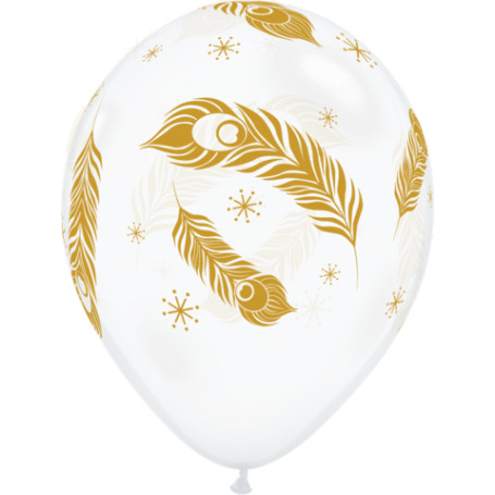"""Qualatex 11"""" Latex Clear Balloon - Gold Peacock Feathers"""