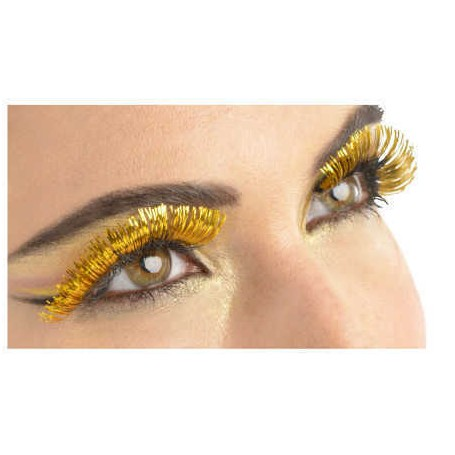 Dramatic Gold Tinsel Party Lashes