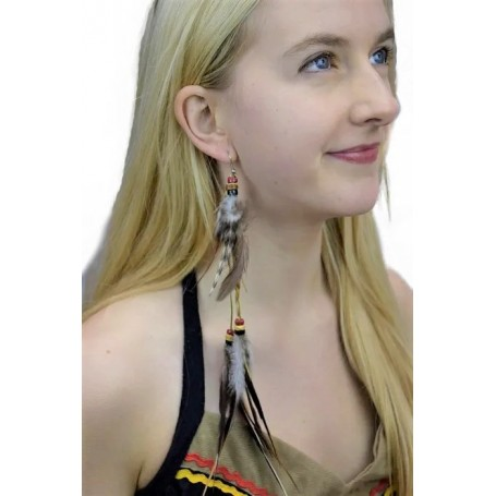 Indian Feather Earring Set - String of Hanging Feathers