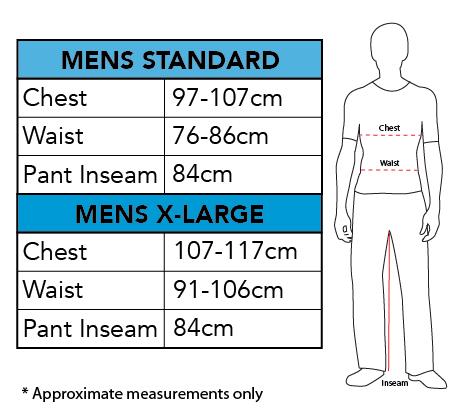 Rubies Men's Size Chart